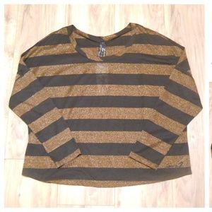 NWT Seven7 Top Shirt Sz L long sleeve striped